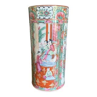 Antique Chinese Porcelain Rose Canton Cylinder Vase For Sale
