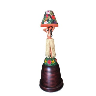 Hand Painted Dancing Hula Girl Lamp on Teak Base For Sale