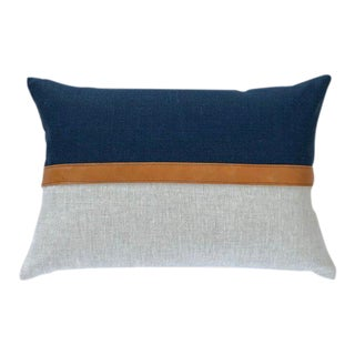 "Boho Chic Horizontal Leather Stripe Color Block Linen Lumbar Pillow Cover - 18""x12"" For Sale"