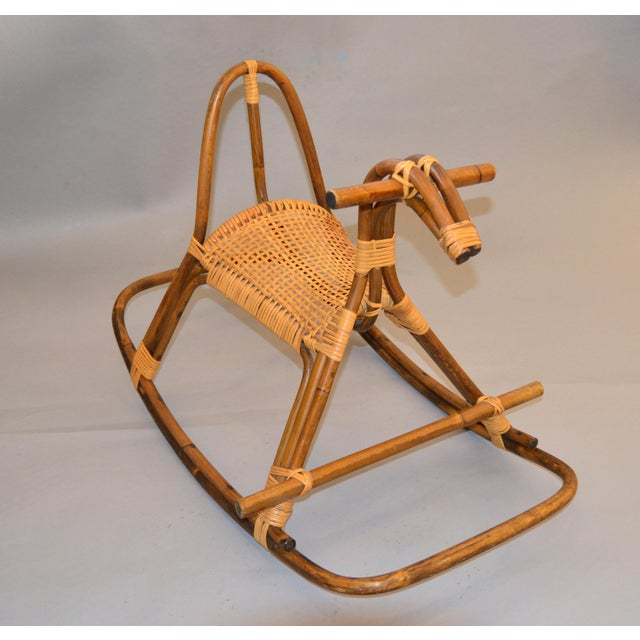 1960s Rattan and Bamboo Rocking Horse Sculpture Inspired by Franco Albini For Sale - Image 13 of 13