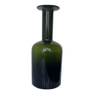 1960s Danish Modern Holmegaard Green Vase For Sale