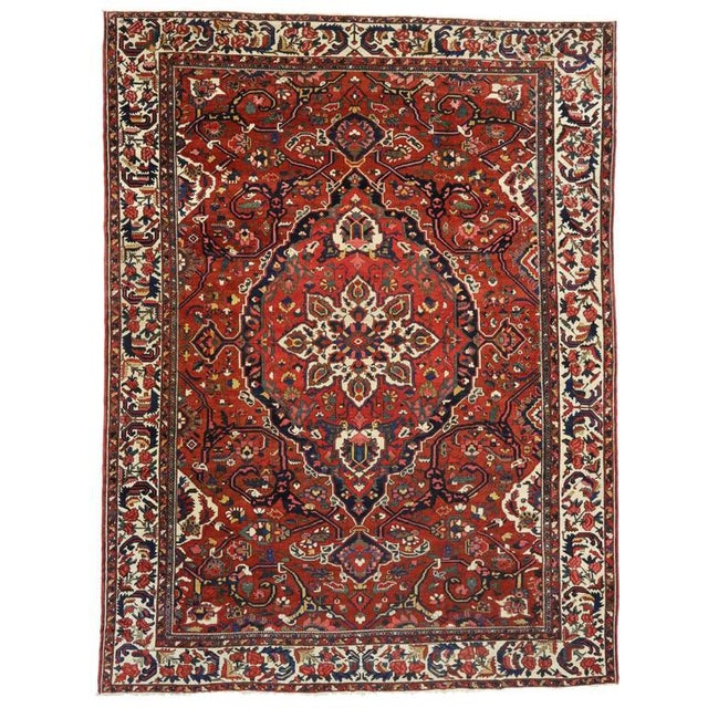 1930s 1930s Antique Persian Bakhtiari Colonial and Federal Style Area Rug - 13′2″ × 17′4″ For Sale - Image 5 of 5
