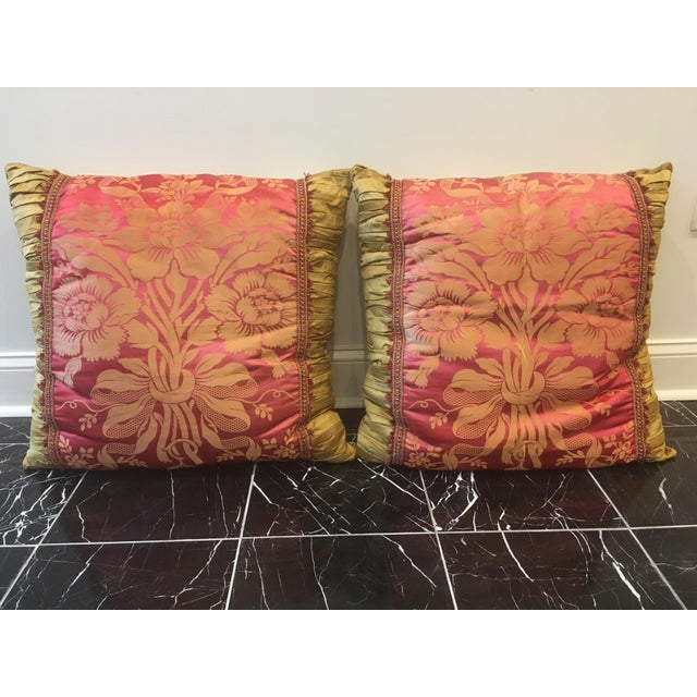 Gold Vintage Fuschia & Gold Silk Pillows - a Pair For Sale - Image 8 of 8