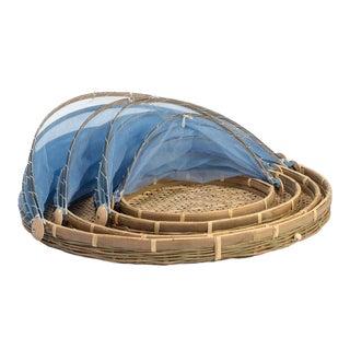 Boho Chic Rattan Blue Picnic Tent