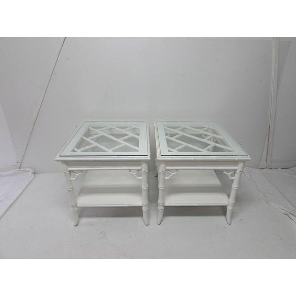 Baker Chinese Chippendale Lacquered Side Tables - A Pair - Image 6 of 6