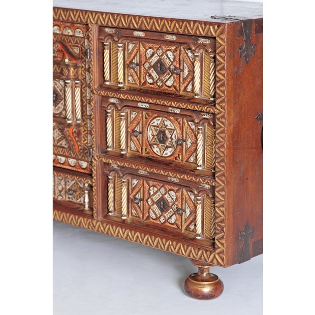 An elaborately decorated small desk cabinet or papillero / bargueno / vargueno without front cover from the late 18th...