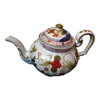 """Italian """"Blue Carnation"""" Faience Tea Pot For Sale"""