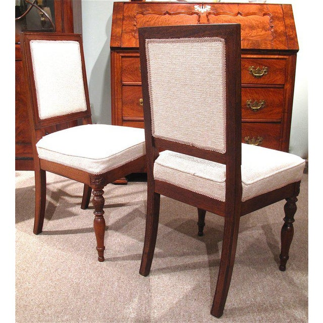 19th Century French Walnut Square Back Chairs - a Pair - Image 6 of 9