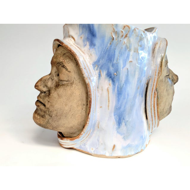 Blue 1970 Double Faced Pottery Planter For Sale - Image 8 of 10