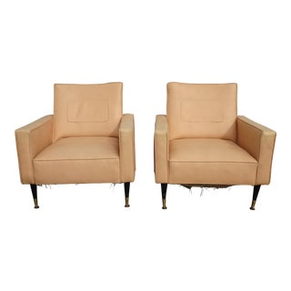 Pair Vintage Mid Century Modern Coral Accent Chairs For Sale