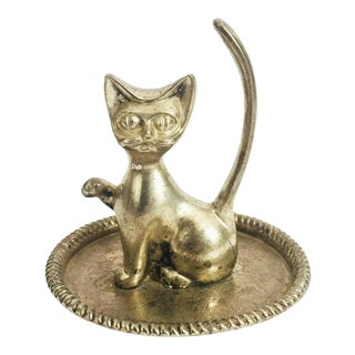 Vintage Silver Cat Ring Dish For Sale