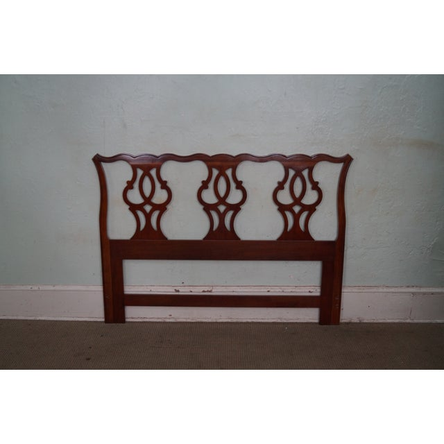 Drexel Heritage Queen Size Cherry Chippendale Style Headboard For Sale - Image 9 of 10