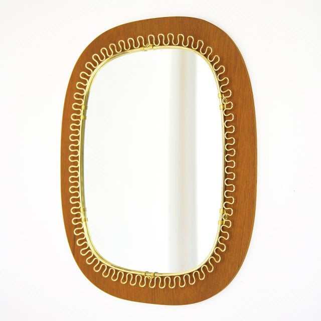 Gold Josef Frank Brass and Teak Mirror, circa 1960 For Sale - Image 8 of 9