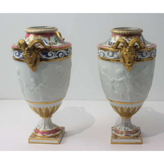 Manufacture de Sevres Antique 19th Century Sevres Style Urns - a Pair For Sale - Image 4 of 13