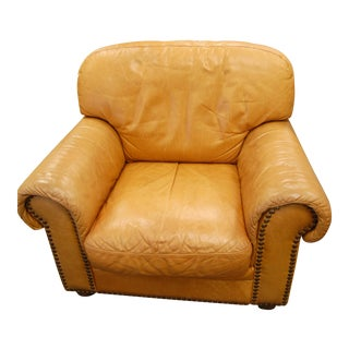 1980s Vintage Italian Camel Leather Club Lounge Chair For Sale
