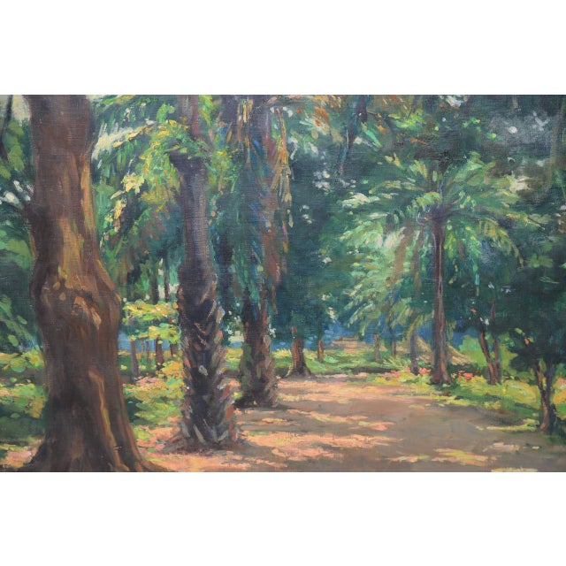 Mid Modern Palm Forest Impressionist Oil Painting C.1950s For Sale In San Francisco - Image 6 of 8