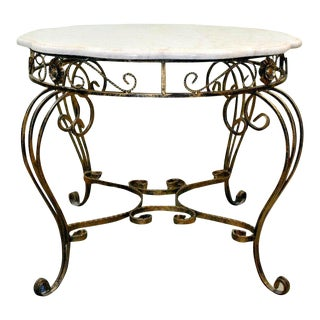 Vintage Rococo Marble and Wrought Iron Occasional Table For Sale