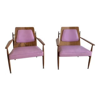 Mid Century Danish Modern Arm Chairs- A Pair For Sale