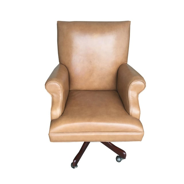 Vintage Mid Century Modern Tan Leather Chesterfield Style Executive Office Chair - Image 1 of 4