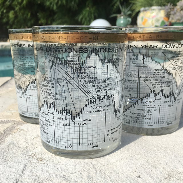 Vintage Cera 24k Gold Stock Market Cocktail Glasses - Set ...