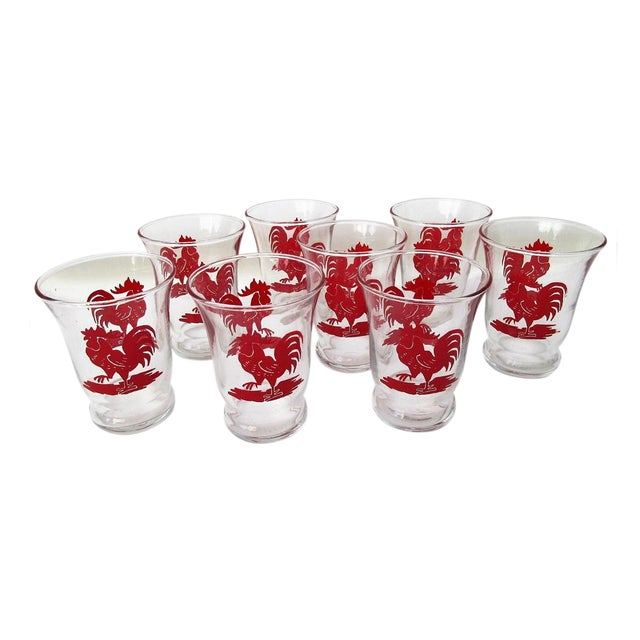 Libbey Rooster Juice Glasses - Set of 8 For Sale