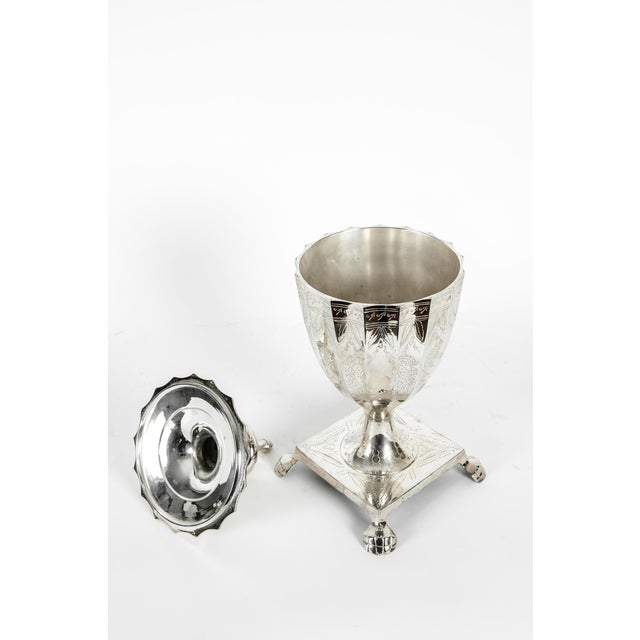 Metal Late 20th Century Plated Covered Urn / Dish For Sale - Image 7 of 10
