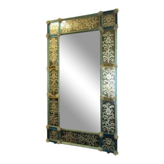 19th Century Venetian Etched Mirror With Blue Glass For Sale