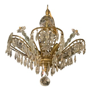 1930 French Crystal and Brass Chandelier For Sale