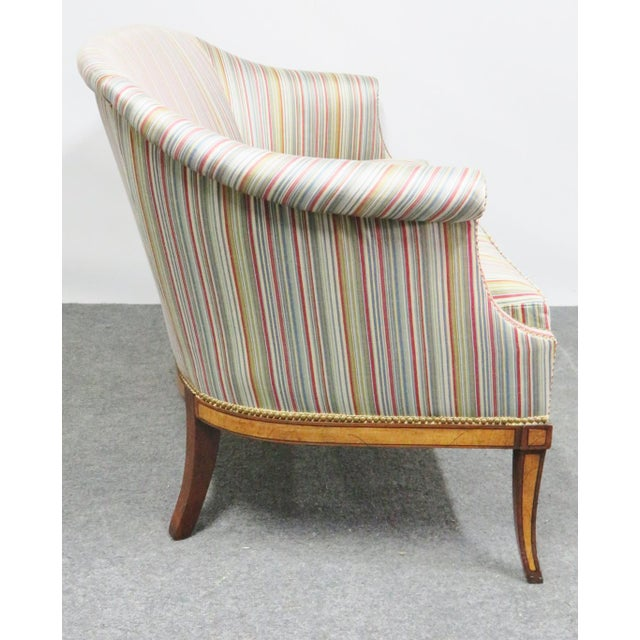 Hepplewhite Hickory Chair Co. Mahogany Satinwood Settee For Sale - Image 3 of 8