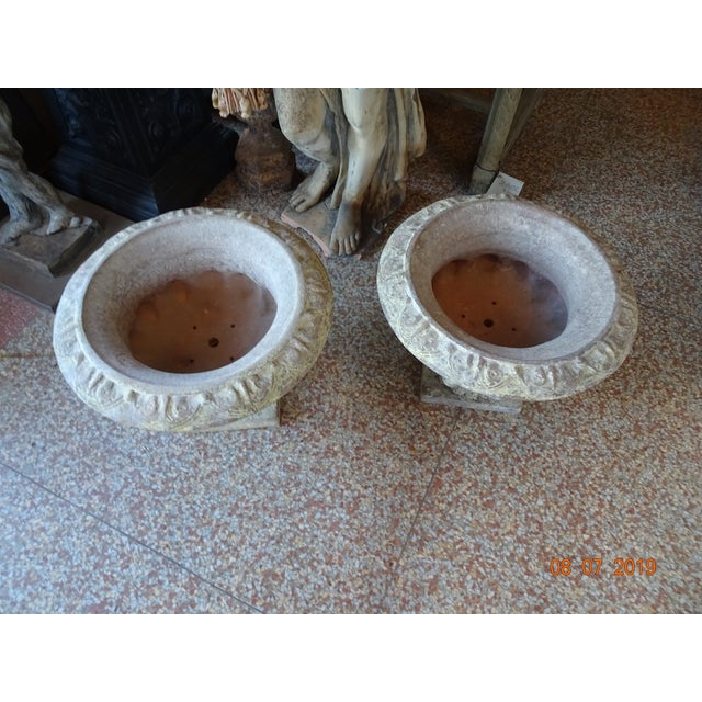 Orange Pair of French Terra Cotta Jardinieres For Sale - Image 8 of 10