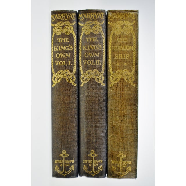 1896 Captain Frederick Marryat The Phantom Ship & The King's Own Hand-made Paper Illustrated Books - 3 Volumes This...