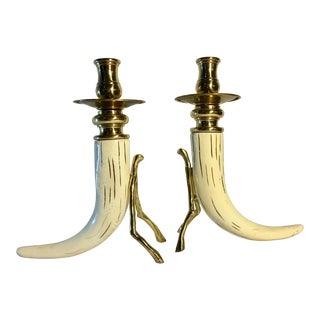 1980s Organic Modern Thomas Blakemore Faux Horn and Brass Candlesticks - a Pair For Sale