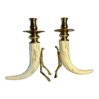 1980s Organic Modern Thomas Blakemore Faux Horn and Brass Candlesticks - a Pair