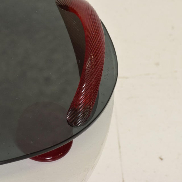 Modernist Oval Serving Tray in Smoke Glass With Red Ruby Glass Handles and Sabots Signed For Sale In San Diego - Image 6 of 10
