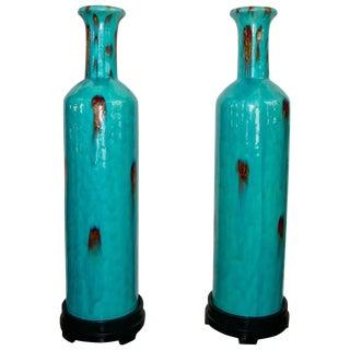 Vintage Flambé Tall Glazed Turquoise Vases Urns - a Pair For Sale