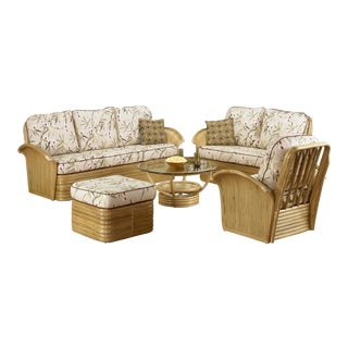 "Stacked Rattan Fan Arm ""Hawaii"" 6 Piece Set Rattan Living Room Set For Sale"