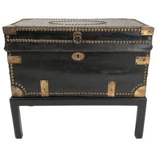 Leather Brass Stud Decorated Sea Captain's Chest on Stand, Circa 1810-1820 For Sale