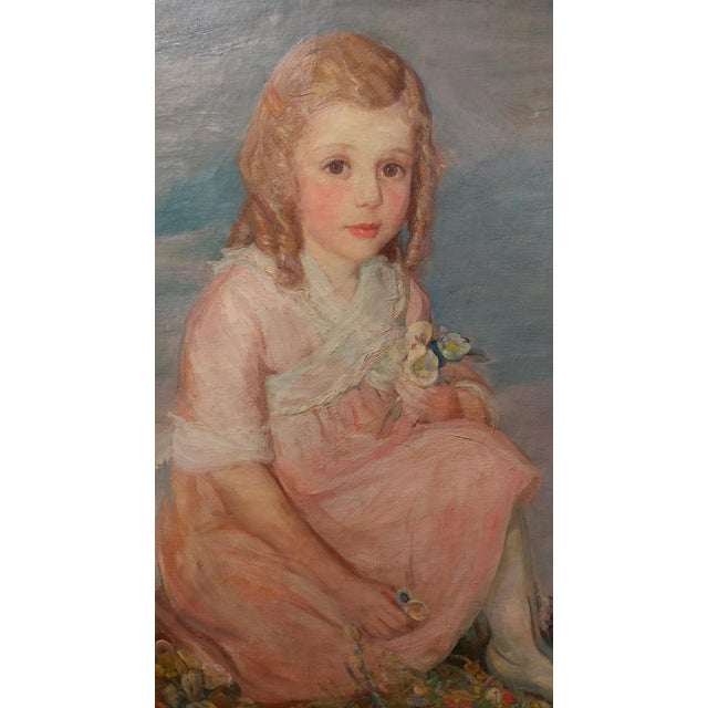 Olive Rush Portrait of Louise Block Oil Painting, C. 1900s For Sale - Image 4 of 10