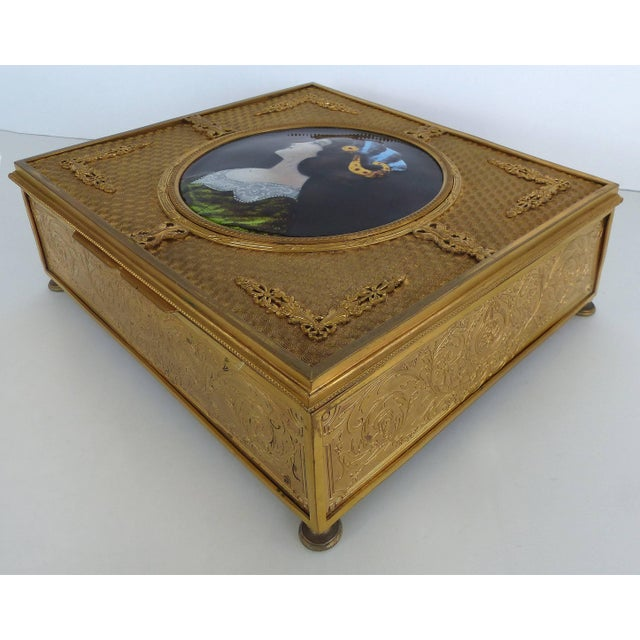 Traditional 19th Century European Gilt Bronze Dresser Box With Enamel Plaque For Sale - Image 3 of 9