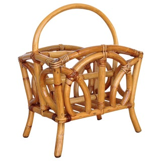 Restored Molded Rattan Magazine Rack For Sale