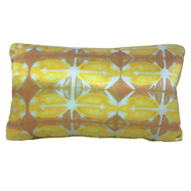 """2010s """"Louise"""" One of a Kind Hand-painted Silk Pillow For Sale - Image 5 of 5"""