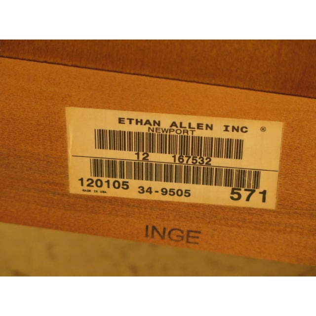 Vintage Ethan Allen Federal Style Bow Front Mahogany Low Chest For Sale - Image 12 of 13