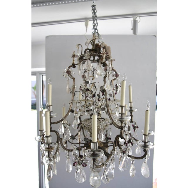 Louis XV Rock Crystal Chandelier by Maison Baguès Lighting in Paris For Sale - Image 9 of 10