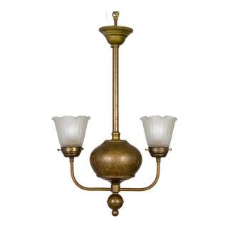 1900 Victorian 2-Arm Brass Ball Pendant Chandelier For Sale
