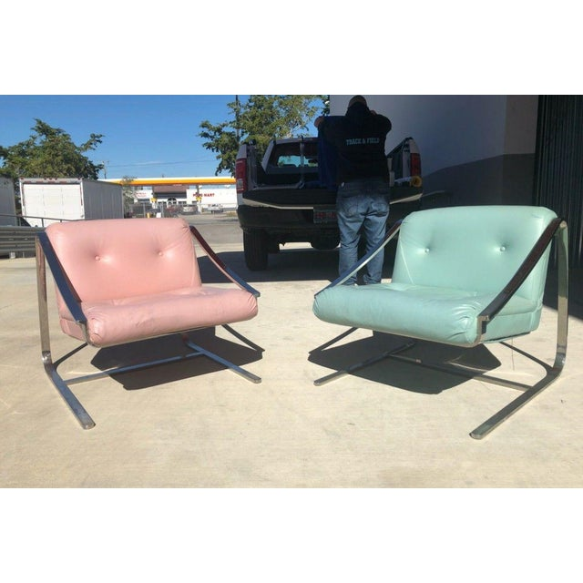 1970's Vintage Grasshopper Chrome Steal Lounge Chairs- A Pair For Sale - Image 10 of 11