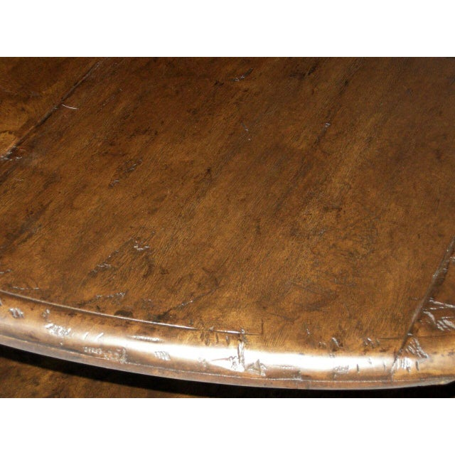 Custom Round Walnut Wood Coffee Table With Shelf For Sale In Los Angeles - Image 6 of 10