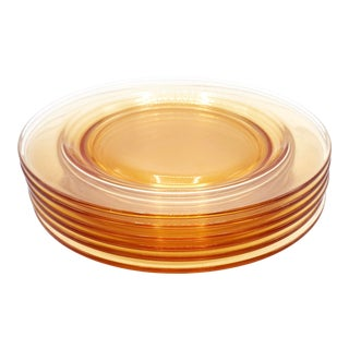 Mid Century Modern 1950's French Amber Orange Glass Plates- 6 Pieces For Sale