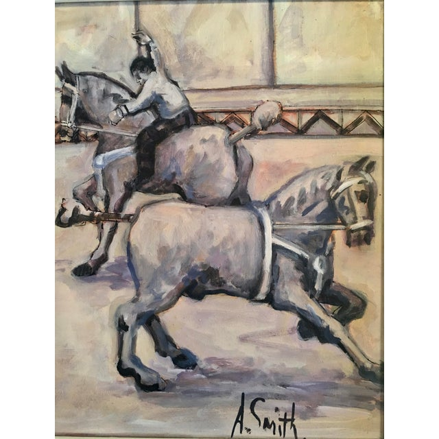 Blue Arthur Smith 'Trick Riding' Original From Circus Series Painting For Sale - Image 8 of 12