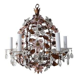 French Maison Baguès Style Pink & Clear Flower Ball Crystal Prisms Chandelier For Sale