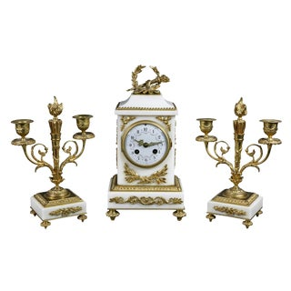 Louis XVI Style Marble and Bronze Clock Garniture - 3 Piece Set For Sale